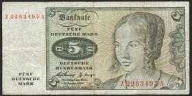 R.262f 5 DM 1960 Ersatznote (4)
