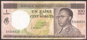 Kongo / Congo P.012b 1 Zaire = 100 Makuta 1970 (3)