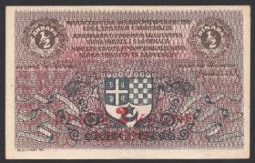 Jugoslawien / Yugoslavia P.014a 2 Kronen auf 1/2 Dinar 1921 (1-)