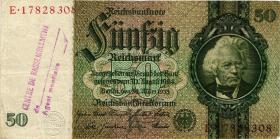 R.175f: 50 Reichsmark 1933 mit belgischem Lagerstempel (3)