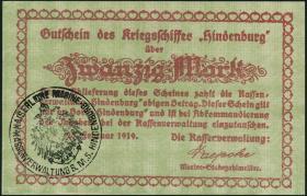 20 Mark 1919 Gutschein Kriegsschiff Hindenburg (1)