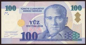 Türkei / Turkey P.221 100 Neue Lira 2005 (2+)