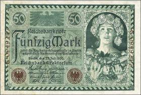 """R.066: 50 Mark 1920 """"Jugendstilbildnis"""" (1-)"""