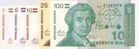 Kroatien / Croatia P.16-20 1-100 Dinara 1991