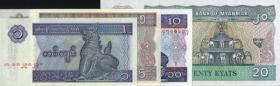 Myanmar P.69-72 1 - 20 Kyats (1994-)  Banknotensatz (1)