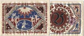 Notgeld Bielefeld GP.17 25 Mark 1921 Seide