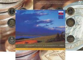 Slowakei offizieller Kursmünzen- u. Euro-Probensatz 2004