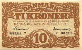 Dänemark / Denmark P.31n 10 Kroner 1943 T (1-)
