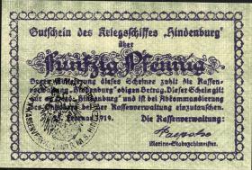 50 Pfennig 1919 Gutschein Kriegsschiff Hindenburg (1)