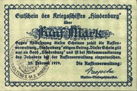 5 Mark 1921 Gutschein Kriegsschiff Hindenburg (1)