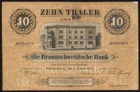 A-065: Braunschweig 10 Taler 1869 (3-)