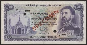 Äthiopien / Ethiopia P.23s 100 Dollars (1961) Specimen (1-)