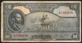 Äthiopien / Ethiopia P.14b 10 Dollars (1945) (3-)