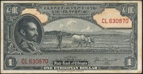 Äthiopien / Ethiopia P.12b 1 Dollar (1945) (3+)