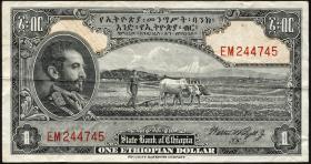 Äthiopien / Ethiopia P.12c 1 Dollar (1945) (3)