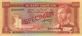 Äthiopien / Ethiopia P.26s 5 Dollars (1966) (1) Specimen