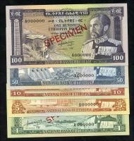 Äthiopien / Ethiopia P.25/29s 1 - 100 Dollars (1966) Specimen (1)