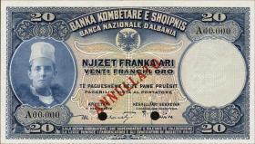 Albanien / Albania P.03s 20 Franka Ari (1926) Specimen (1)