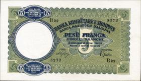 Albanien / Albania P.06 5 Franga 1939 (1)