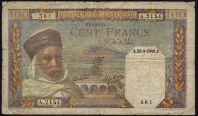 Algerien / Algeria P.088 100 Francs 1945 (5)
