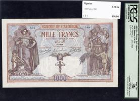 Algerien / Algeria P.083a 1000 Francs 1926 (3-)