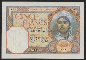 Algerien / Algeria P.077b 5 Francs 1941 (2+)