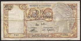 Algerien / Algeria P.104 10 Neue Francs 1960 (3-)