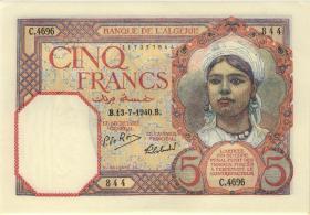 Algerien / Algeria P.077a 5 Francs 1940 (1)
