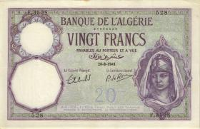 Algerien / Algeria P.078c 20 Francs 1941 (2)