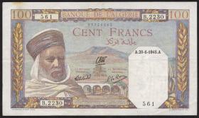 Algerien / Algeria P.088 100 Francs 1945 (3+)