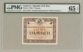 Andorra P.06 1 Pesseta 1936 (1) PMG 65