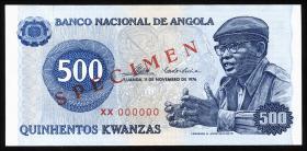 Angola P.112s 500 Kwanzas 1976 Specimen (1)