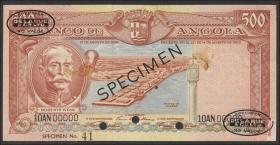 Angola P.090s1 500 Escudos 1956 (2) Specimen