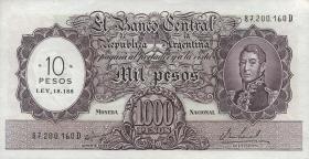 Argentinien / Argentina P.284 10 Pesos auf 1000 Pesos (1969-71) (1)