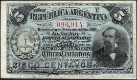 Argentinien / Argentina P.209 5 Centavos 1891 (2)