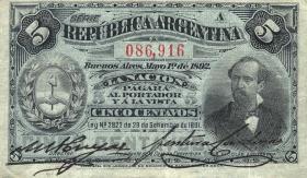 Argentinien / Argentina P.213 5 Centavos 1892 (3)