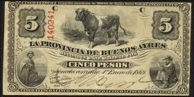 Argentinien / Argentina P.S483 5 Pesos 1869 (3+)