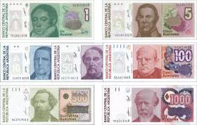 Argentinien / Argentina P.323-329 1-1000 Australes (1985-90)