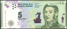 Argentinien / Argentina P.359b 5 Pesos (2017) Serie B (1)