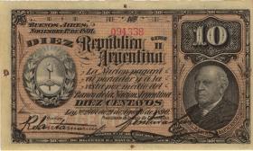 Argentinien / Argentina P.210 10 Centavos 1891 (2)