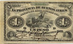 Argentinien / Argentina Provincia Buenos A. P.S0481 1 Peso 1869 (3)