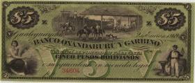 Argentinien / Argentina Banco Oxa.y Garbino P.S1783r 5 Pesos 1869 (1)
