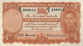 Australien / Australia P.25d 10 Shillings (1952) (2+)