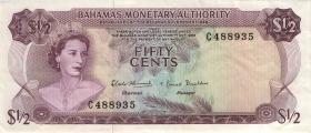 Bahamas P.26a 50 Cents 1968 (3+)