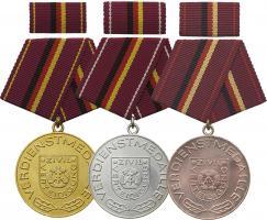 B.0230-232 Verdienstmedaillen Zivilverteidigung Gold-Silber-Bronze