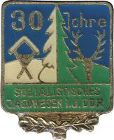 B.0608 Ehrennadel 30 Jahre soz. Jagdwesen der DDR