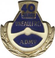 B.1317e ADMV Ehrennadel Gold 40 Jahre unfallfrei