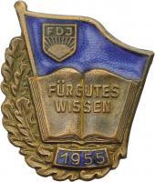 B.2366c FDJ Abzeichen für gutes Wissen 1955 - Bronze