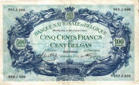 Belgien / Belgium P.109 500 Francs = 100 Belgas 1941 (3+)