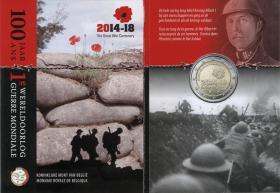 Belgien 2 Euro 2014 100 J. Beginn des 1. Weltkrieges Folder